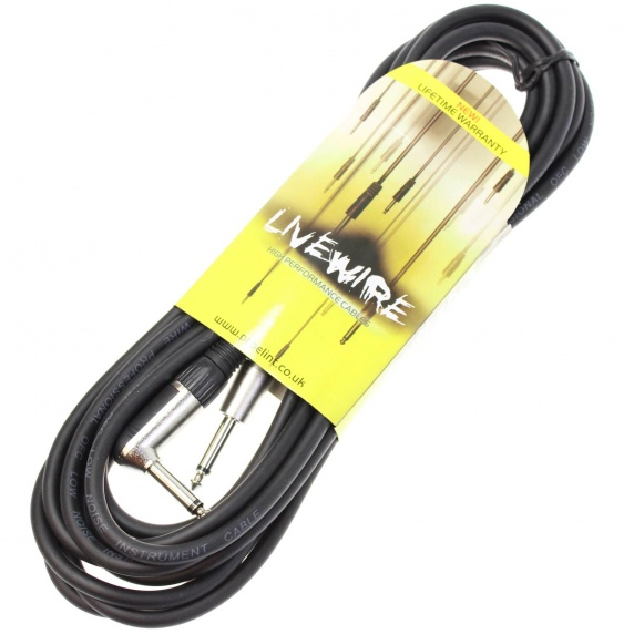 Livewire 6m Jack to Angled Jack Guitar Lead - Black Instrument Cable ...