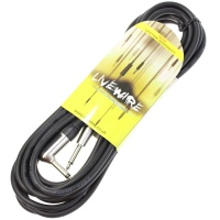 Livewire 6m Jack to Angled Jack Guitar Lead - Black Instrument Cable