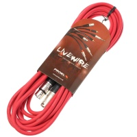 Livewire 6m XLR Microphone Cable - Balanced Male to Female XLR Mic Lead - Red