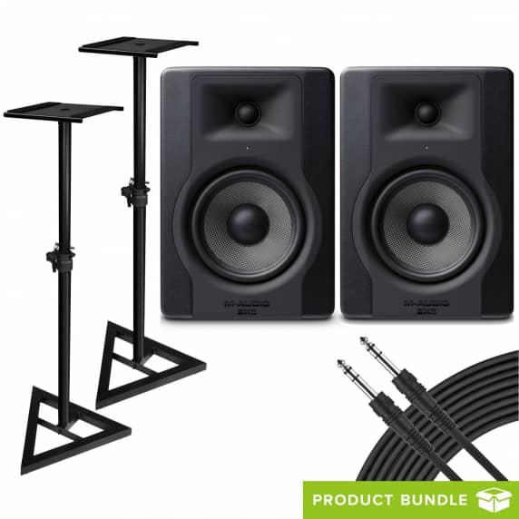 M-Audio BX5 D3 (Pair) with Speaker Stands & Cables