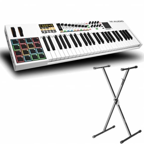 M-Audio Code 49 Controller Keyboard (White) + Adam Hall Keyboard Stand