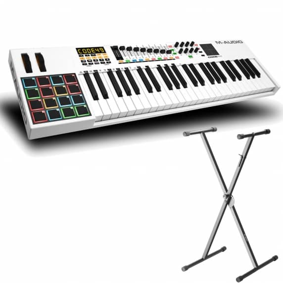 M-Audio Code 49 USB Midi Controller Keyboard with Adam Hall Keyboard Stand