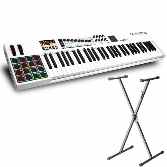 M-Audio Code 61 Controller Keyboard (White) + Adam Hall Keyboard Stand