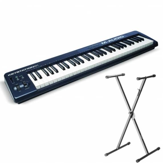 M Audio Keystation 61 MIDI Controller MKII with Adam Hall Keyboard Stand
