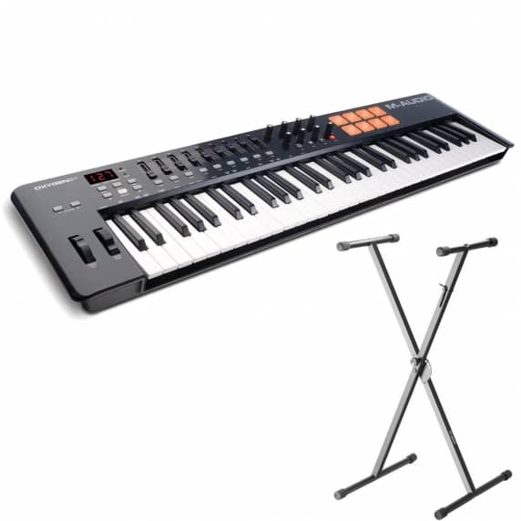 M Audio Oxygen 61 MK4 USB Midi Controller Keyboard with Adam Hall Keyboard Stand