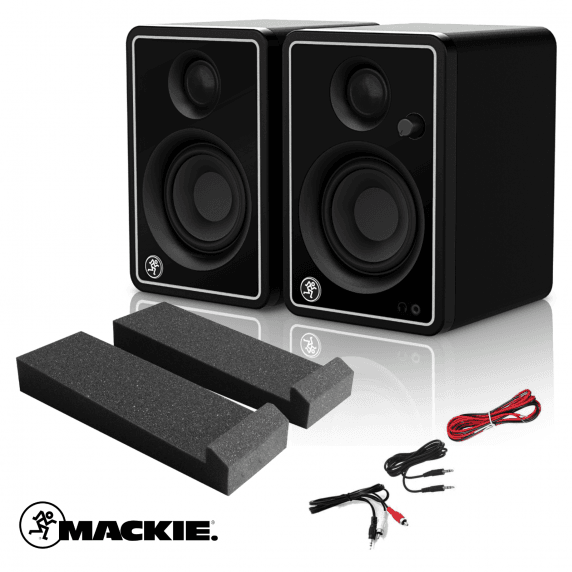 Mackie CR3-X Studio Monitors Limited Edition Silver with Isolation Pads & Cables