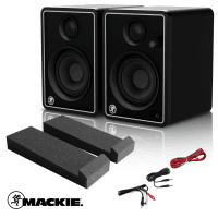 Mackie CR4-X Studio Monitors Limited Edition Silver with Isolation Pads & Cables