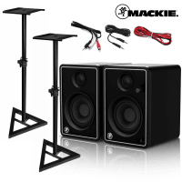 Mackie CR4-X Studio Monitors Limited Edition Silver with Stands & Cables