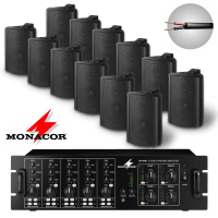 Monacor 12 Speaker 4 Zone Background Music System