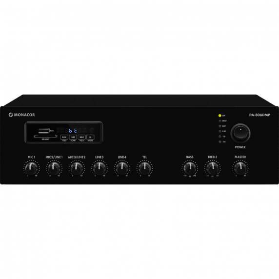 Monacor PA-806DMP 60W 100V Mixer Amp with Bluetooth & FM Tuner