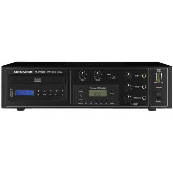 Monacor PA-890RCD 80W 100V Mixing Amplifier with CD/MP3 Player & FM Radio