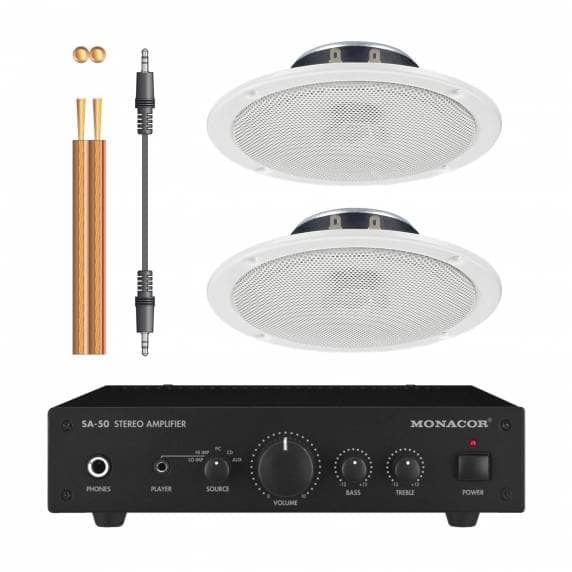 Monacor SA-50 Stereo Amplifier 2 x Ceiling Speakers for iPod/iPhone/Samsung