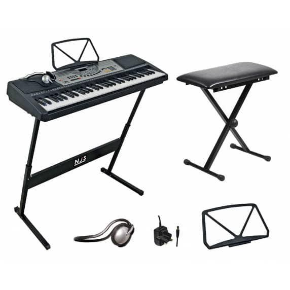 NJS 61-Key Full Size Digital Electronic Keyboard Kit with Stool & Headphones