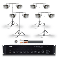Clever Acoustics Outdoor PA Speaker Package with 8x Horn Speakers & Tripod Stands