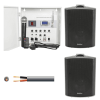 Inta Audio Outdoor PA Speaker System with Wireless Mic & Wall Mount Amp