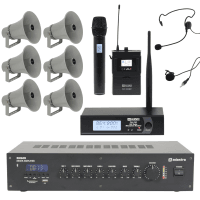 Adastra Outdoor Public Address System with 6 Horn Speakers & Wireless Mic