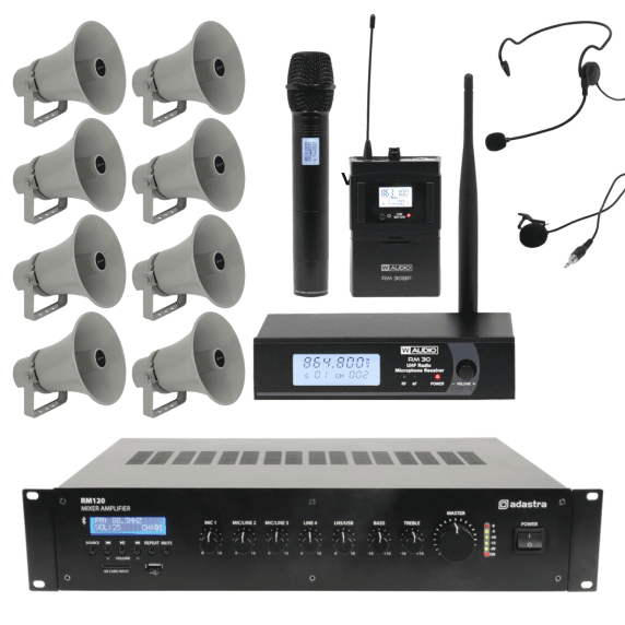 Outdoor Public Address System with 8 Horn Speakers & Wireless Mic