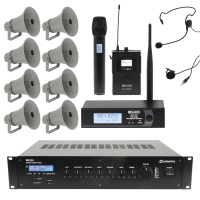 Adastra Outdoor Public Address System with 8 Horn Speakers & Wireless Mic
