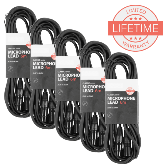 Pack of 5 x 6m XLR Microphone Leads in Black