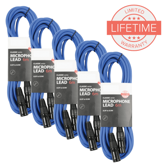 Pack of 5 x 6m XLR Microphone Leads in Blue