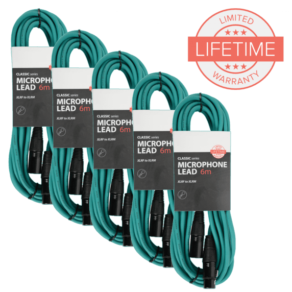 Pack of 5 x 6m XLR Microphone Leads in Green