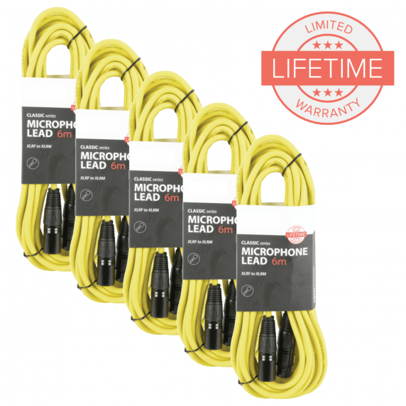Pack of 5 x 6m XLR Microphone Leads in Yellow