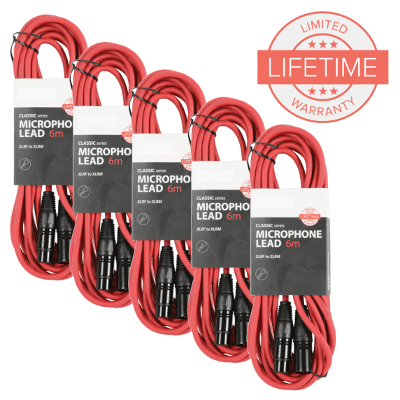 Pack of 5 x 6m XLR Microphone Leads - Red