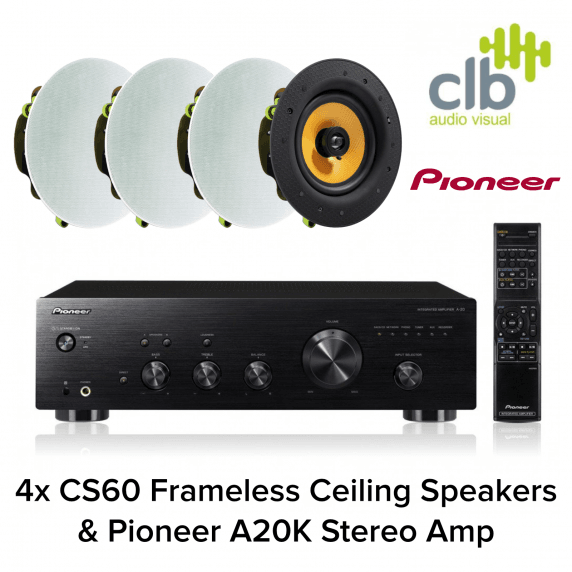 Pioneer A-20-K Home Hi-Fi Sound System - 4x Ceiling Speakers
