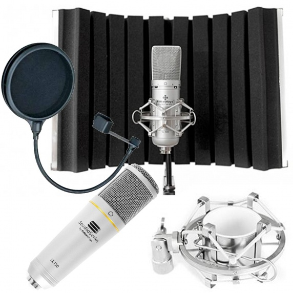 Portable Vocal Booth Flex Bundle - SL150 USB Mic & Pop Filter