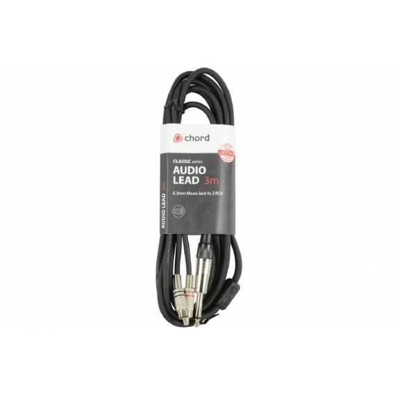 "Premium Mono 1/4"" (6.3mm) Jack - 2x RCA Cable 3m"