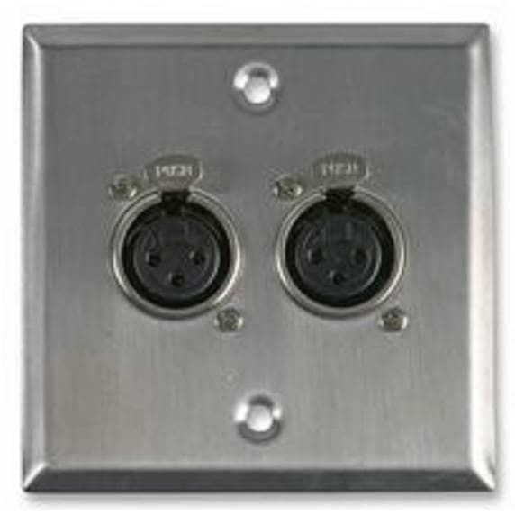 Pro Signal AV Wall Plate with 2 x 3 Pin Female XLR Socket