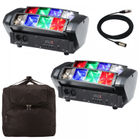 2 x Equinox Onyx LED Beam Light with Carry Bag & DMX Cable