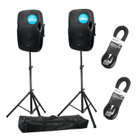 "2 x Kam RZ12A V3 12"" Active PA Speakers with Stands & Cables"