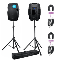 2 x Kam RZ15ABT 1200W Active Bluetooth PA Speakers with Stands & Cables