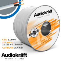 AudioKraft Apollo Series | High-Performance Outdoor Speaker Cable (White) - 100m Drum