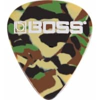 BOSS Thin Celluloid Guitar Pick / Plectrum - Camo Colour (Pack of 12)