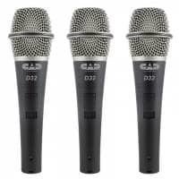 CAD Microphones D32 Dynamic Microphone with Switch - 3 Pack