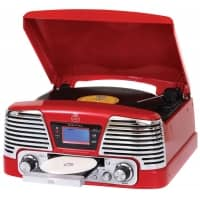 GPO Memphis USB Turntable with CD Player & Radio - Red