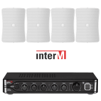 "Inter-M Background Music System with 4x 4"" Wall Speakers (White)"