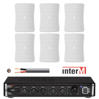 "Inter-M Background Music System with 6x 4"" Wall Speakers (White)"