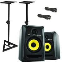KRK RP5 G3 Active Studio Monitor Pack - Includes Stands and Jack Leads
