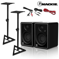 Mackie CR3-X Studio Monitors Limited Edition Silver with Stands & Cables