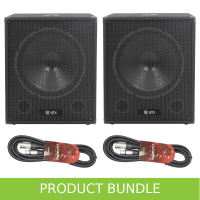 "QTX 15"" 600W Active Subwoofer & Cables Bundle"