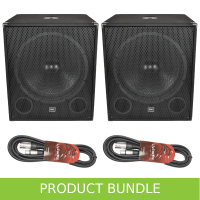 "QTX 18"" 1000W Active Subwoofer with Cables Bundle"