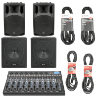 QTX 2000W 10-Channel Active PA Speaker System with USB Mixer