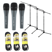 Sennheiser E835 3 Pack Bundle with Stands & Cables