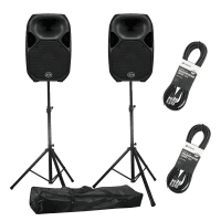 Wharfedale Pro Titan AX12 Active PA Speakers with Stands (Pair)