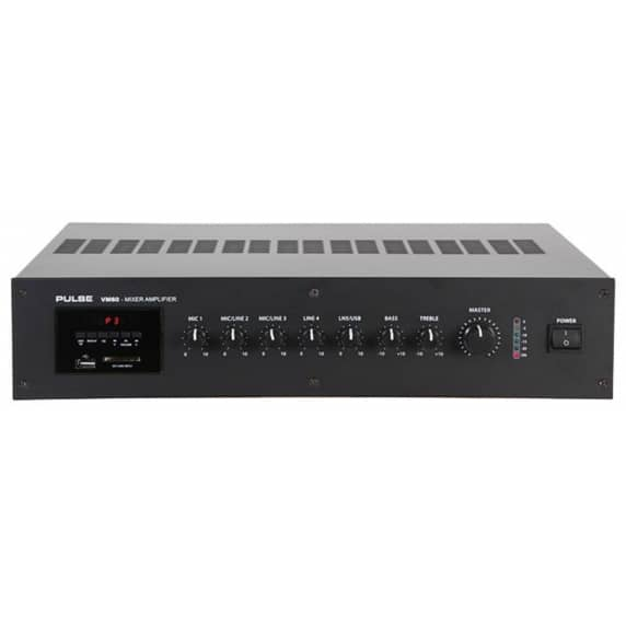 Pulse VM60 100V Line Mixer / 60W Amplifier with Media Player