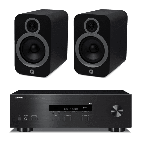 Q Acoustics 3030i Bookshelf Speakers & Yamaha RS202D Bundle - Carbon Black