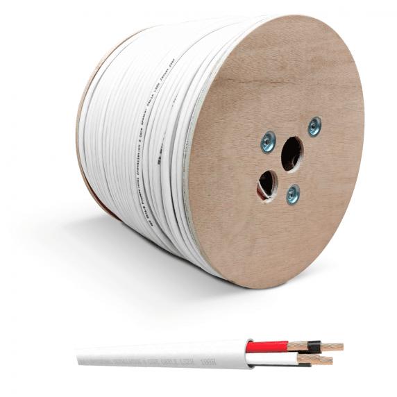 QED QX16/4 4-Core Flame Retardant Speaker Cable, White PVC (300m Drum)